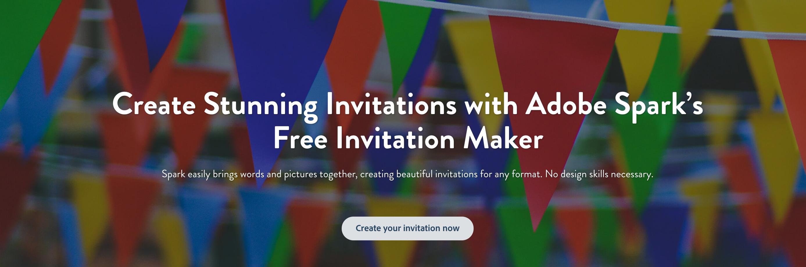 adobe spark's free online invitation maker helps you