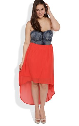 d4102f4217e Plus Size Strapless Dress with Chambray Zip Front Bodice