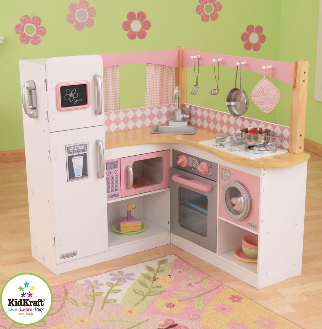 GRAND GOURMET CORNER KITCHEN & Refrigerator Pretend Play Set ...