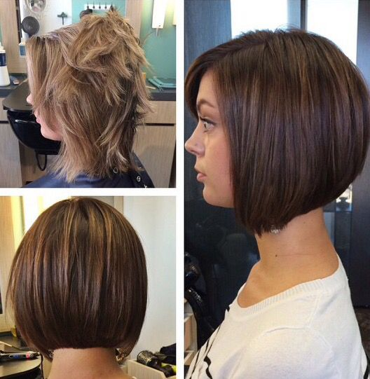 Before And After From Highlighted To Deep Chocolate Brown And Angled Bob Wella Color Chin Length Hair Short Hair Styles Short Summer Hair