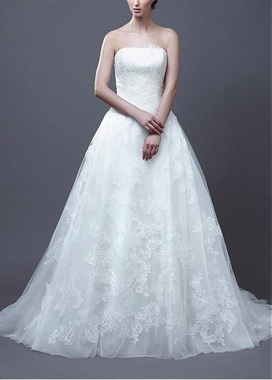 MODERN TULLE SATIN A-LINE STRAPLESS DROP WAIST BEADED LACE APPLIQUES ...