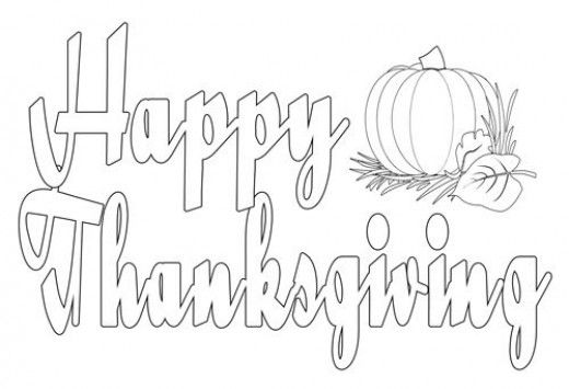Small Happy Thanksgiving Coloring Sheet