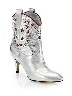 Marc Jacobs Georgia Metallic Leather Cowboy Boots - Silver - Size 41