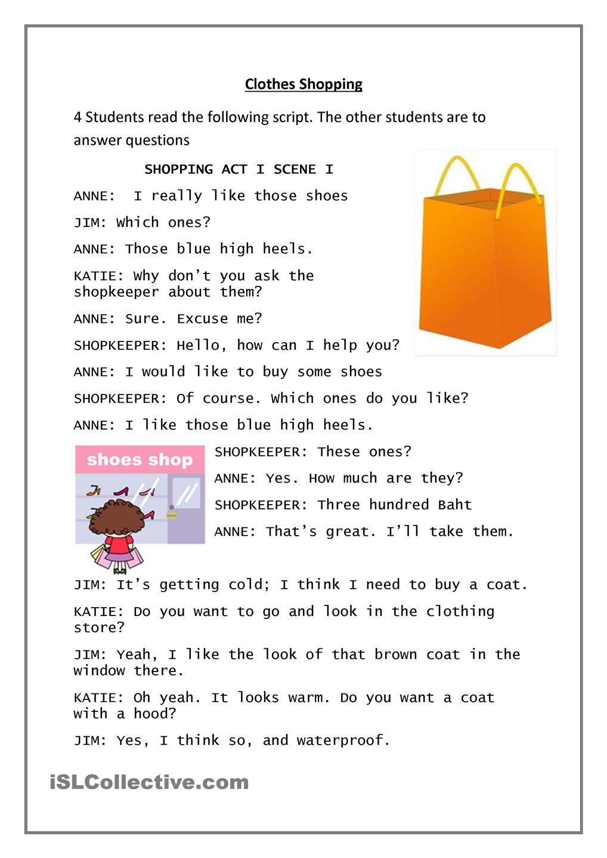 Clothes Shopping | English Language, ESL, EFL, Learn English ...