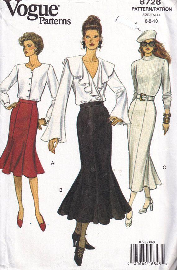Misses Trumpet Mermaid Hemline Flared Skirt Vogue 8726 Sewing ...
