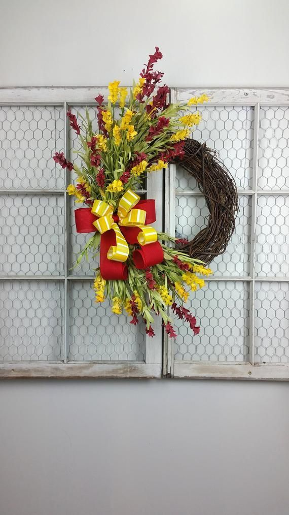 Red and Yellow wreath, Pick your own colors wreath, Monogram wreath, Wildflower wreath, Spring wreath, Double Door wreath This bright beautiful wreath is a gorgeous welcome to Spring and Summer. This wreath is filled with richly colored red and yellow wildflowers. For double doors just add 2 to #doubledoorwreaths Red and Yellow wreath, Pick your own colors wreath, Monogram wreath, Wildflower wreath, Spring wreath, Double Door wreath This bright beautiful wreath is a gorgeous welcome to Spring an #doubledoorwreaths