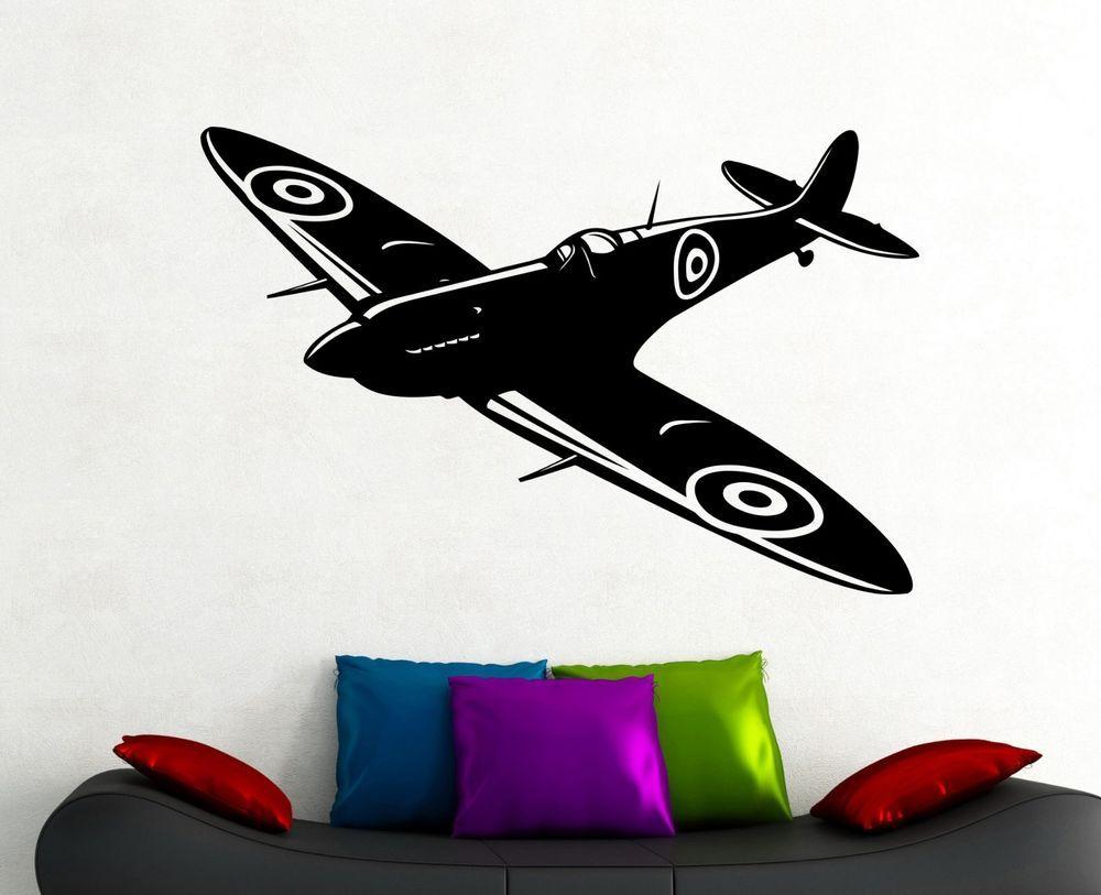 Second World War Fighter Wall Decal Aviation Airplane Vinyl Sticker Art Decor 12 Oracal Modern Sticker Art Vinyl Sticker Wall Decals [ 813 x 1000 Pixel ]