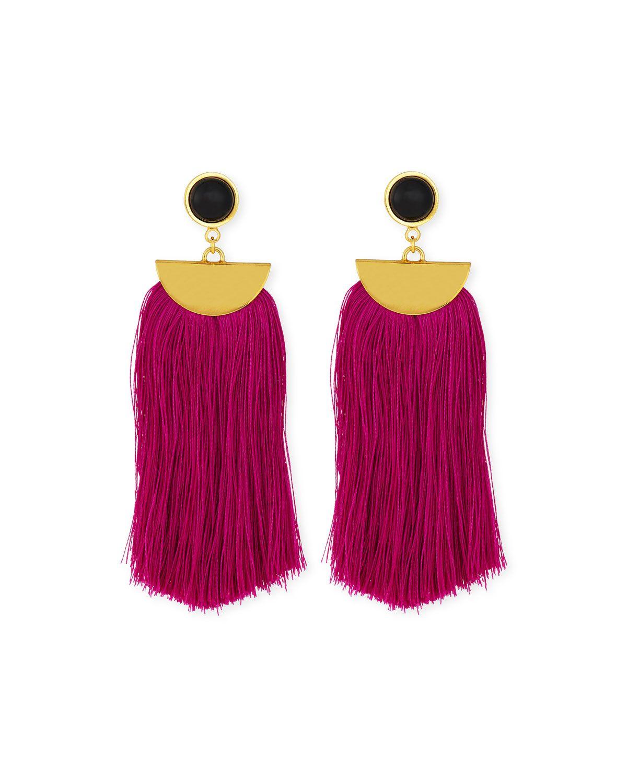 Parrot Tassel Drop Earrings, Fuchsia - Lizzie Fortunato ...
