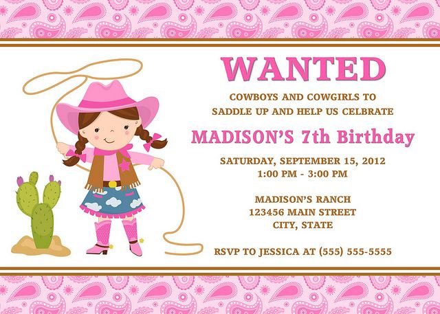 Cool Cowgirl Birthday Invitations Ideas Download this invitation - free template for birthday invitation