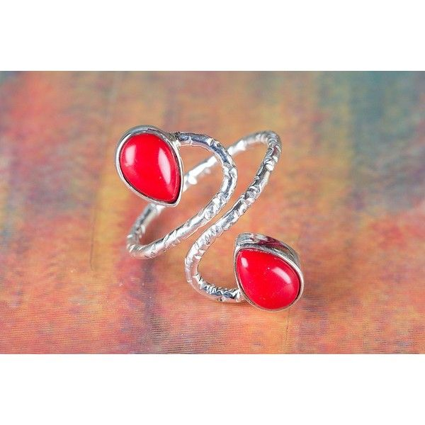 925 Silver Coral Gemstone Ring via Polyvore featuring jewelry, rings, coral silver ring, gemstone jewelry, silver gemstone rings, gem rings and silver jewellery