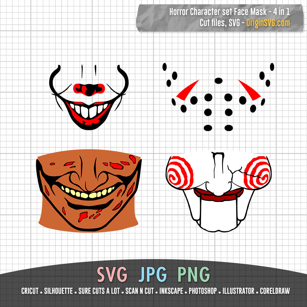 Halloween Face Mask 4 In 1 Pennywise Mouth Billy Saw Doll Mouth Jason Voorhees Freddy Krueger Origin Svg Art