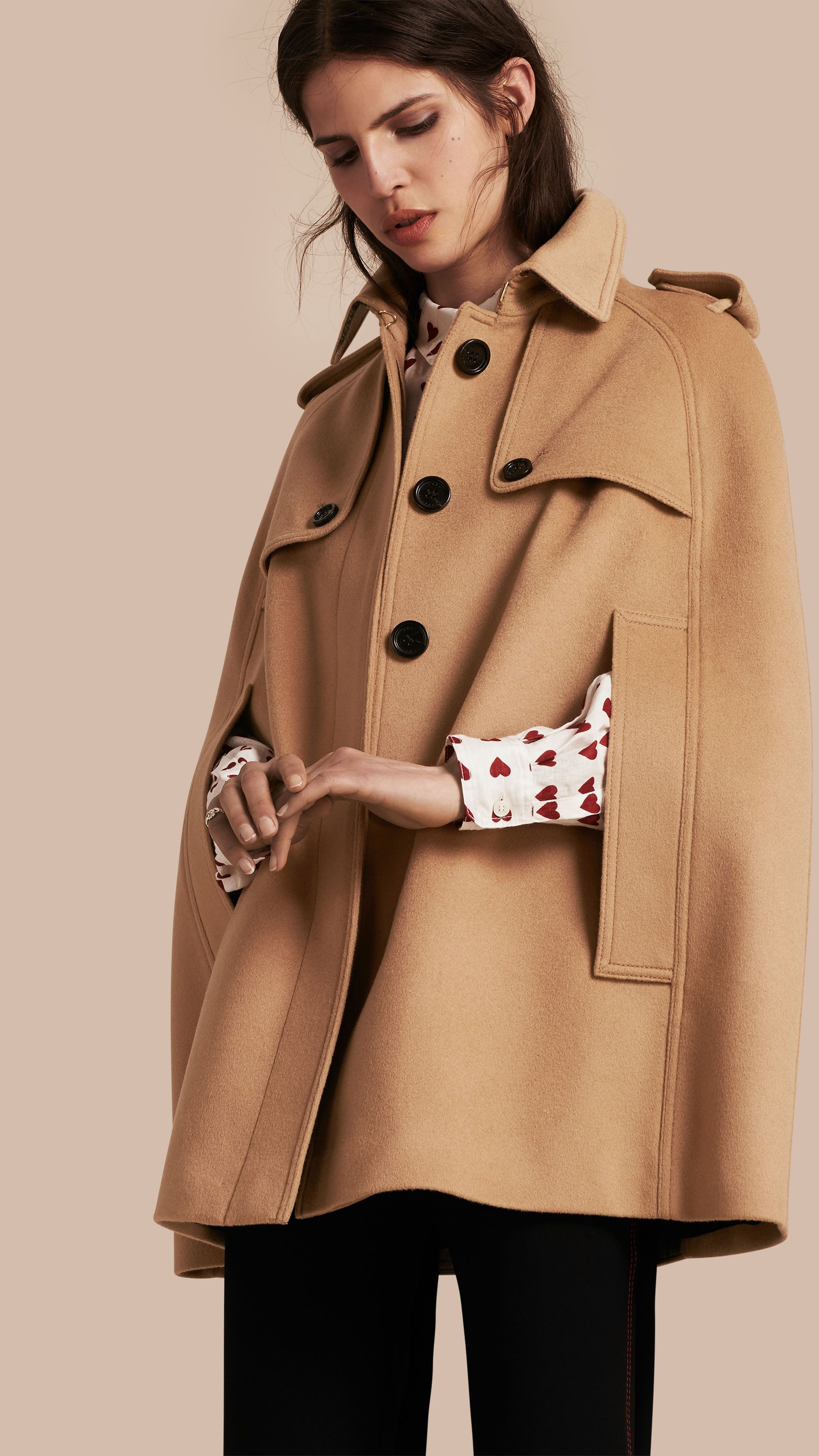 Wool Cashmere Blend Trench Cape Camel   Burberry   Fashion Finds ... 1df0e643fe8