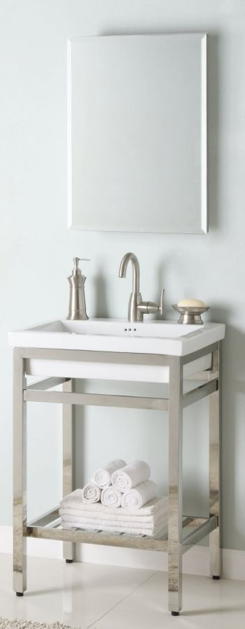 24 Inch Single Sink Console Bathroom Vanity with Choice of Metal
