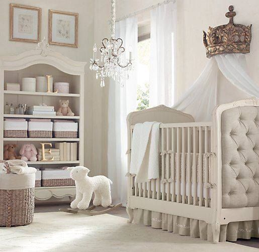 Peaceful Serene Nursery Chandelier And Crown Above Crib