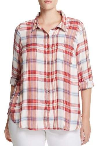 45f506b0f0bcc Lucky Brand Womens Plus Bungalow Plaid Long Sleeves Button-Down Top ...
