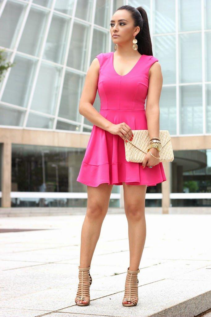 Hot Pink Skater Dress: ℅ Charlotte Russe (Here) Cage High Heels ...