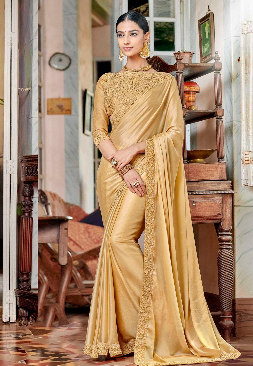 d2964e3e4c Buy Beige Satin Party Wear Saree 161941 with blouse online at lowest price  from vast collection of sarees at Indianclothstore.com.