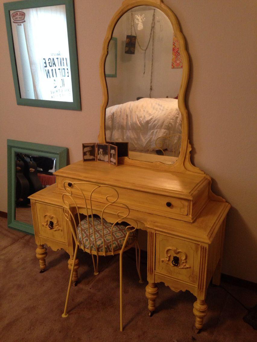 Yellow dresser vanity antique dark wax chalk paint a