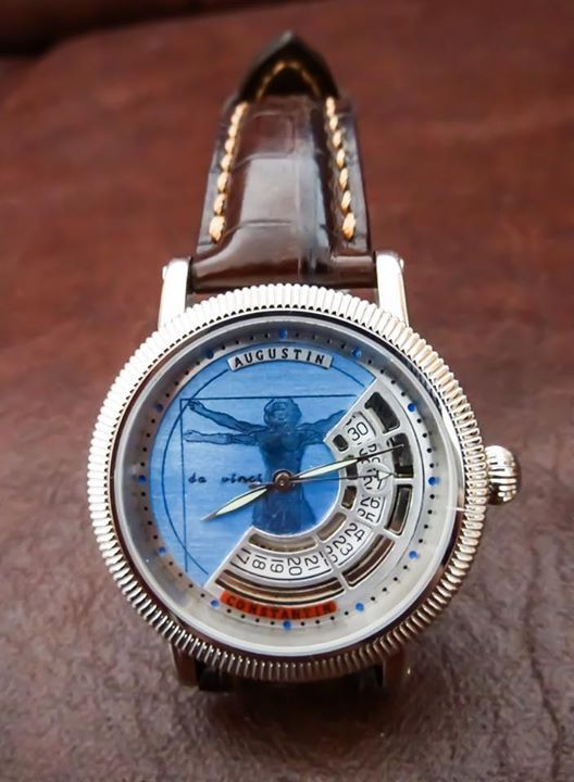 Human Proportion by Da Vinci dial watch. Da Vinci dial watch by Augustin