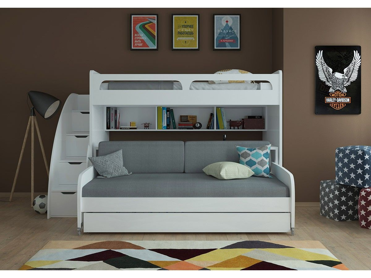 Bel mondo twin over twin xl bunk bed with sofa desk and trundle