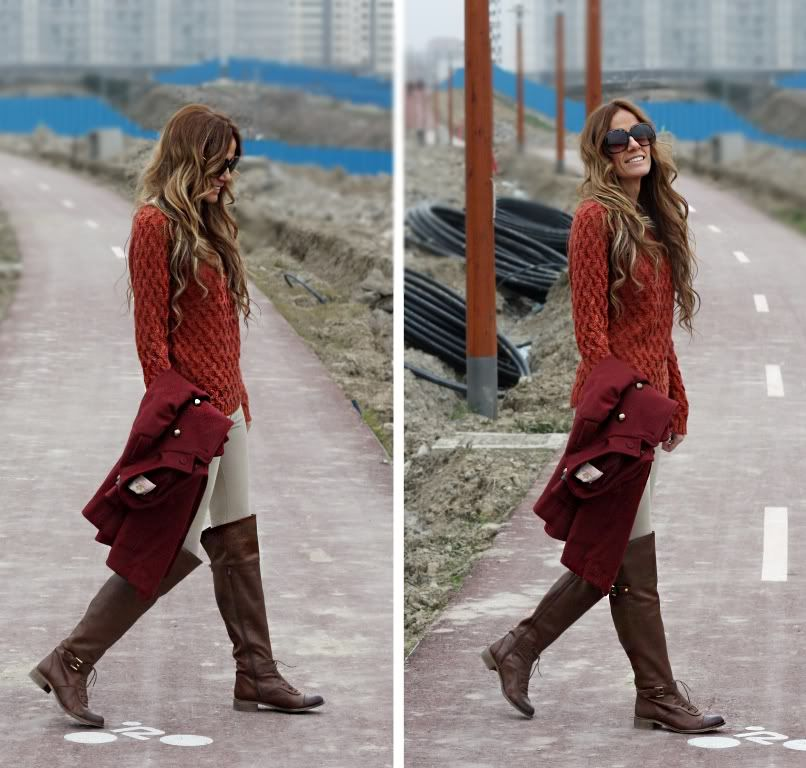 Orange  cream, tall brown boots.