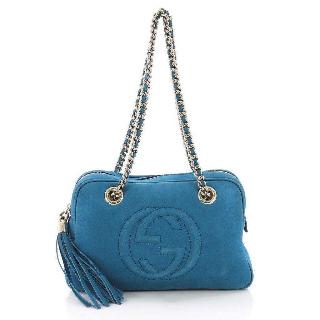 71d1588d9cf Gucci Soho Chain Zipped Shoulder Bag Nubuck Small - Rebag
