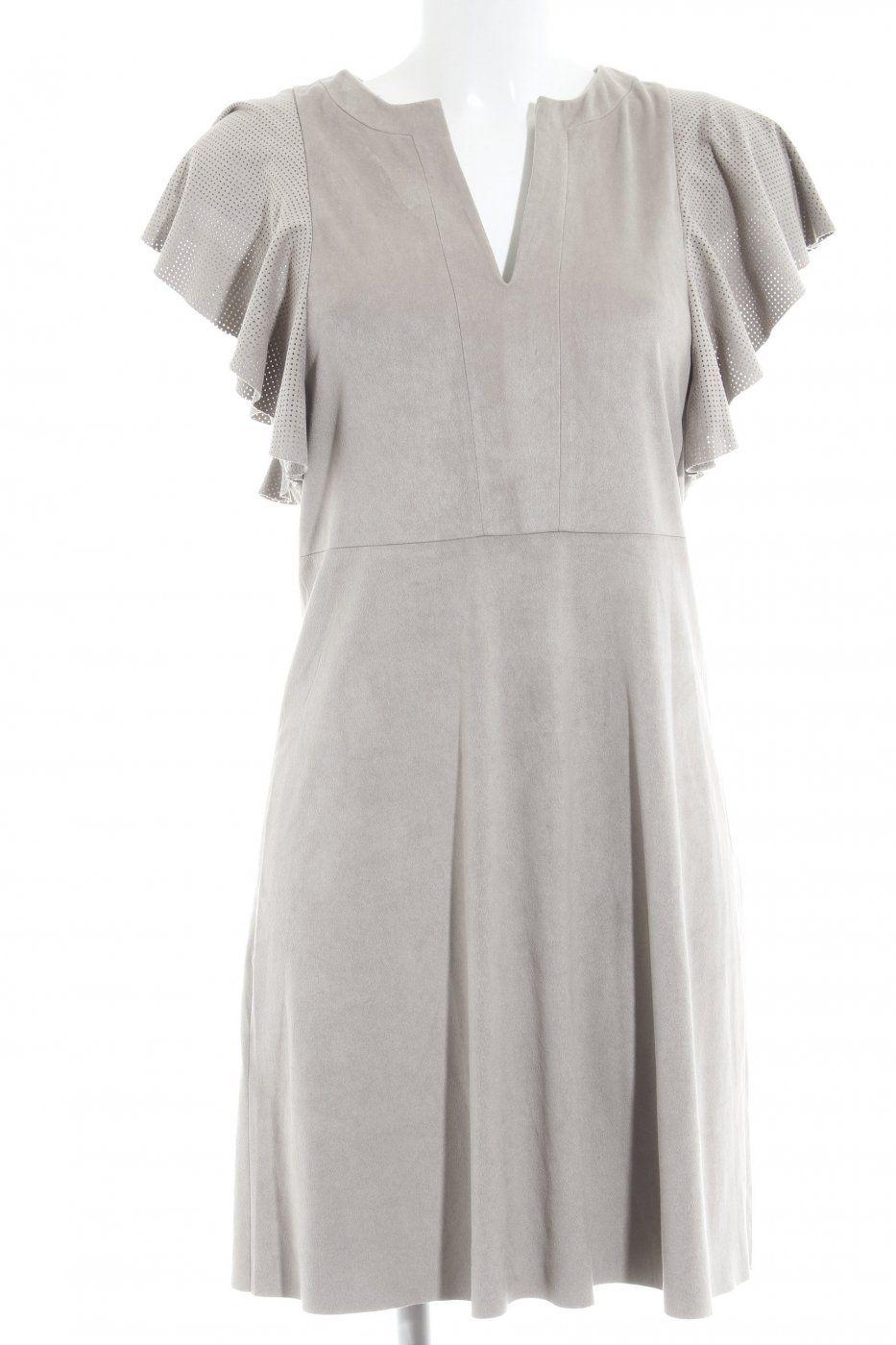 8102cde130e Mango Suit Kurzarmkleid beige Punktemuster Paris-Look