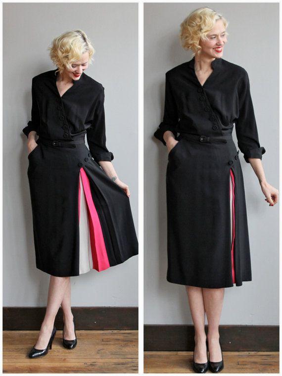 Vintage 1940s Color Block Swag Dress: Reserved For Beccie // 1940s Dress // Reich Color Block