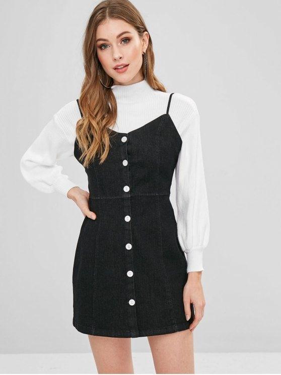 86fc7ca9b8d8 Cami Button Through Mini Denim Dress - BLACK M #ZAFUL #denimdress