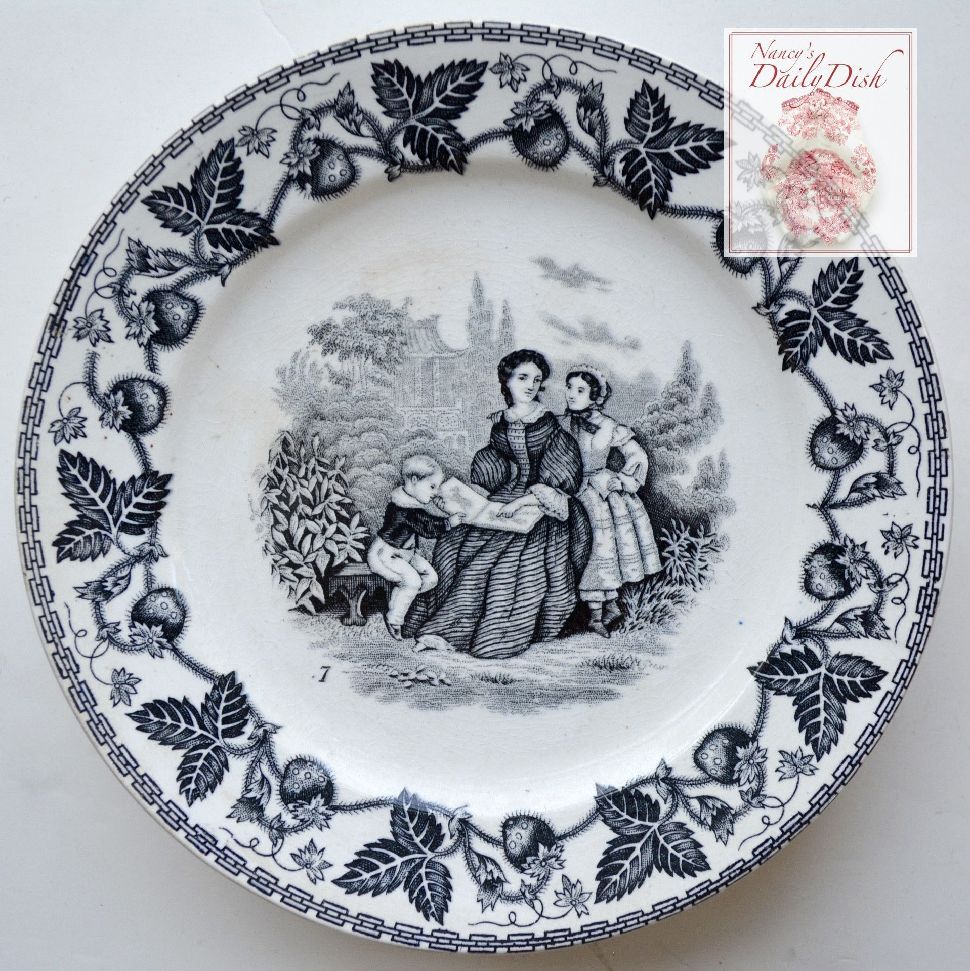 Black Decorative Plates Antique Black Faience Transferware Plate Victorian Mother Reading