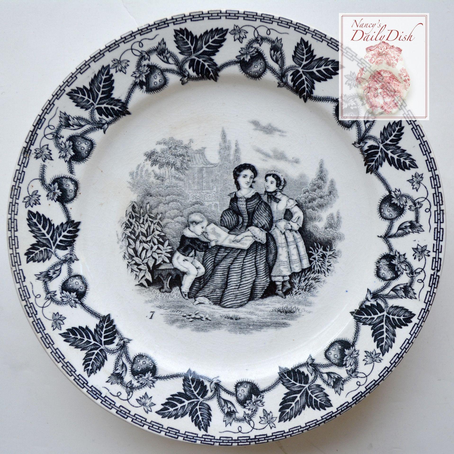 Black Decorative Plates Antique Black Faience Transferware Plate Victorian Mother Reading