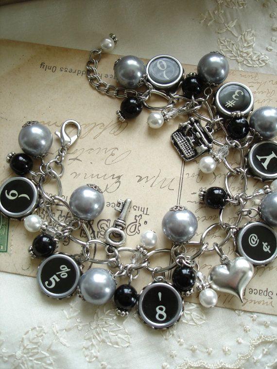 Typewriter Key Bracelet. Steampunk by RomantiquarianDesign on Etsy