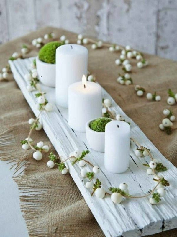 table decoration in winter  70 stylish deco ideas that succeed everyone  minimalistic table decoration winter with moss and candles Puristic table decoration in winter  7...