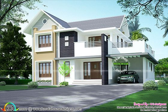 Simple Sloping Roof 2156 Sq Ft Kerala House Design Duplex House Design Coastal House Plans