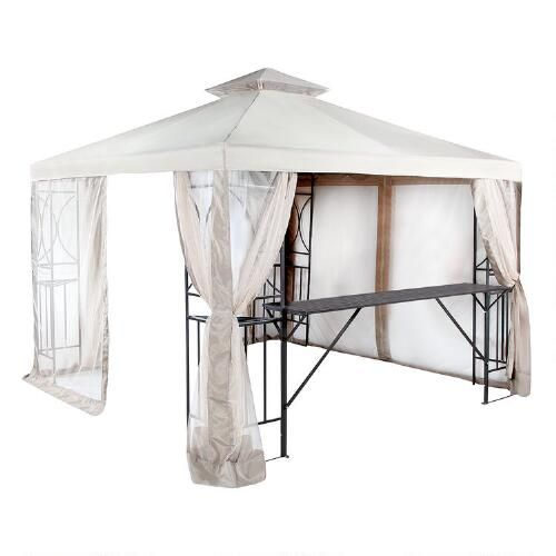 Outdoor Gazebo With Shelves And Netting Outdoor Gazebos Gazebo Outdoor Porch Furniture