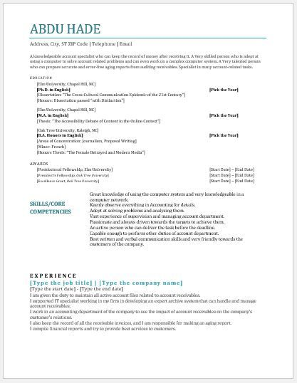 Account Receivable Clerk Resume DOWNLOAD at   writeresume2org