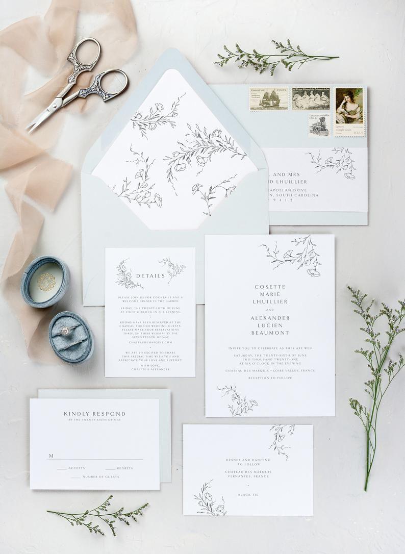 Elegant Wedding Invitations Romantic Wedding Invitation Etsy In 2020 Wedding Invitations Romantic Digital Wedding Invitations Minimalist Wedding Invitations