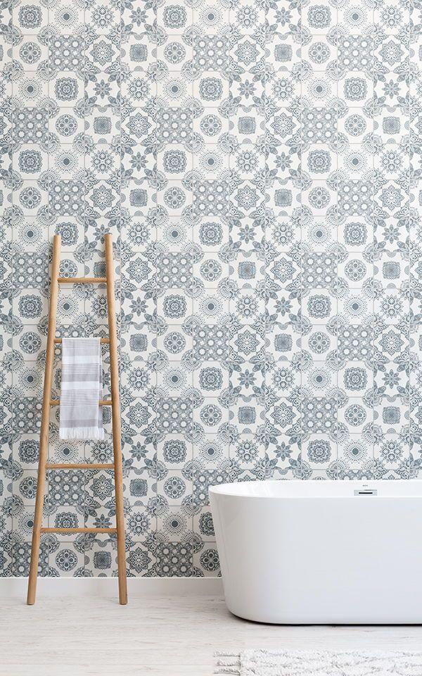 Light Gray Portuguese Tile Wallpaper Mural Murals Wallpaper Rustic Bathroom Tile Wallpaper Portuguese Tile