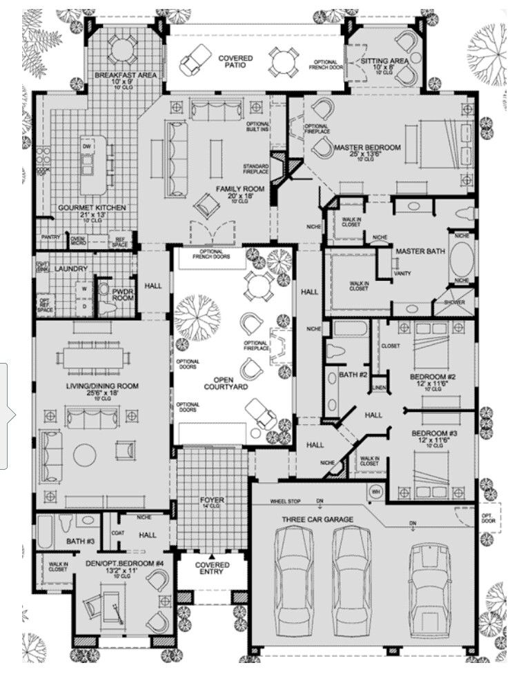 Pin By Mathilde Robin On Floor Plan Courtyard House Plans House Plans House Blueprints
