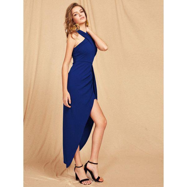Criss Cross Halterneck Maxi Dress Liked On Polyvore Featuring Dresses Maxi Dress Halter Top Maxi Dress Halter N Asymmetrical Maxi Dress Dresses Maxi Dress