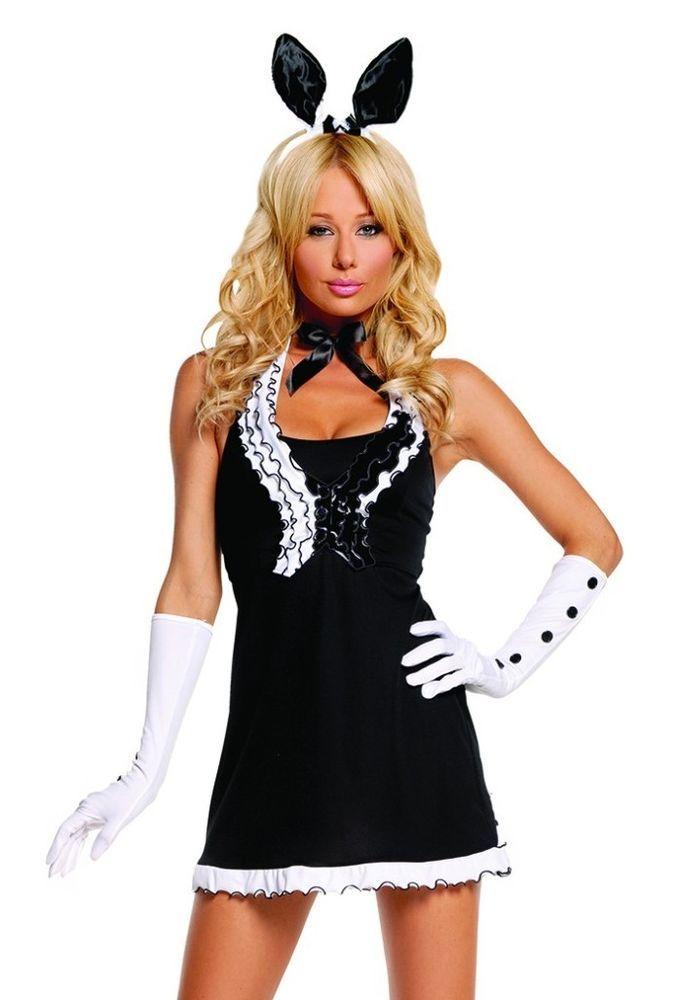 playboy bunny halloween costume medium m women sexy 5pc black white dress - Halloween Costume Playboy Bunny