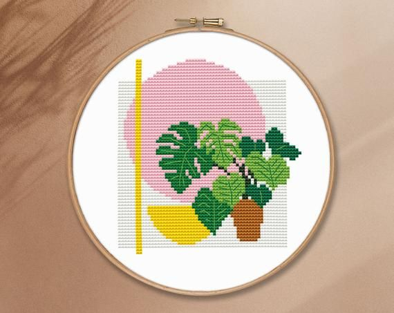 Easy plant counted cross stitch pattern PDF monstera embroidery geometric modern floral minimalist simple cute pillow beginner retro#CS93