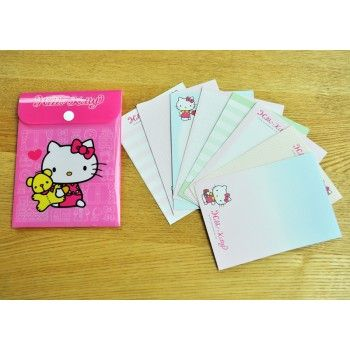 Hello Kitty Notes Memo Pad Letters W/ Folder Bear Pink Sanrio