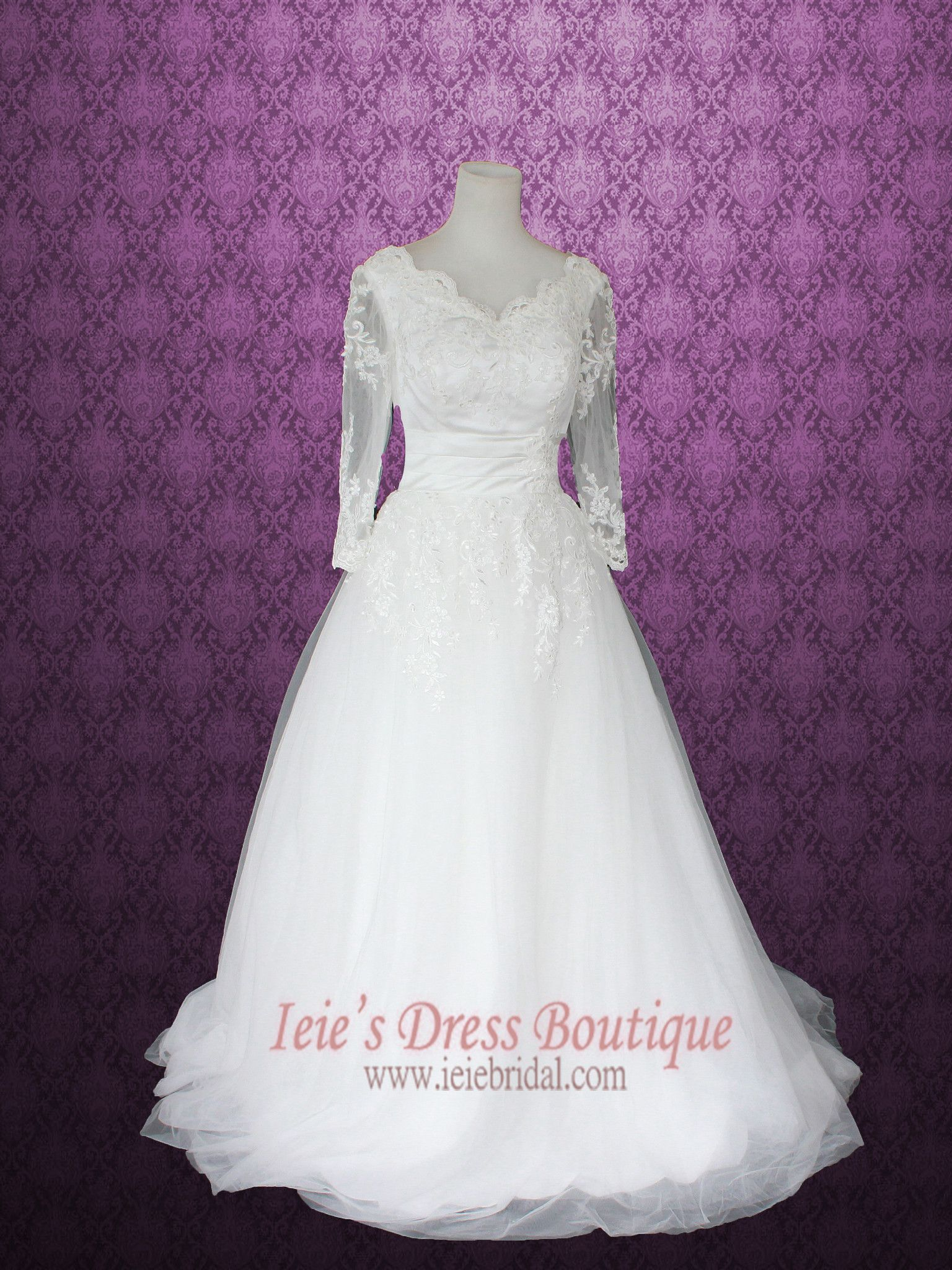 Victorian style princess ball gown floral lace wedding dress with
