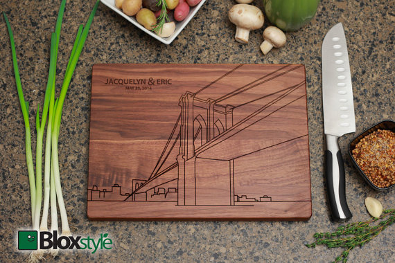Brooklyn Bridge Personalized Engraved Cutting Board | Personalized Wedding Gift, NY Skyline ,Custom Cutting Board, Wedding Gift, Men's Gifts
