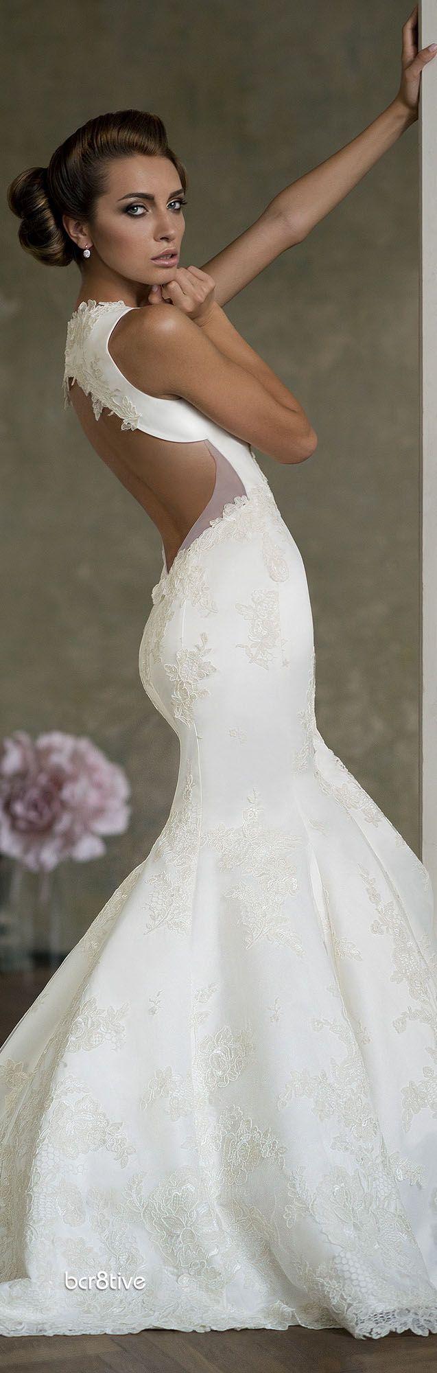 Lace wedding dress open back mermaid  Open back mermaid wedding dress  uc  Pinterest  Backless lace