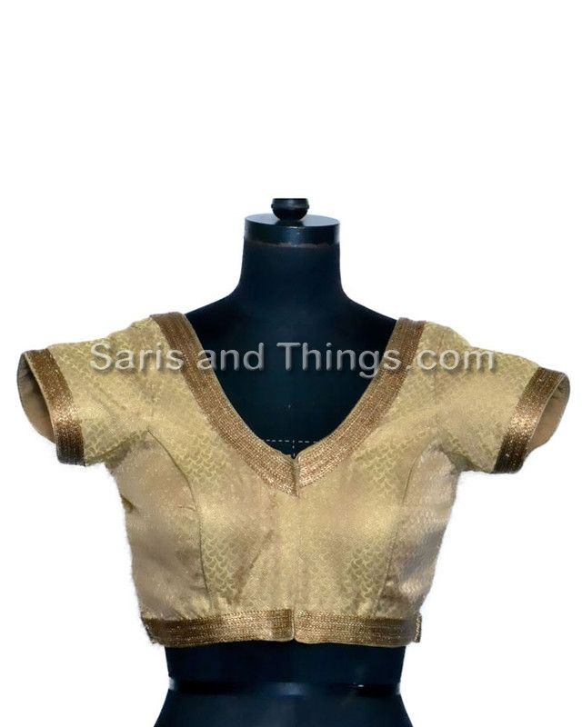 Copper Brocade Readymade Partywear Saree Blouse X - 107 | Saris and Things
