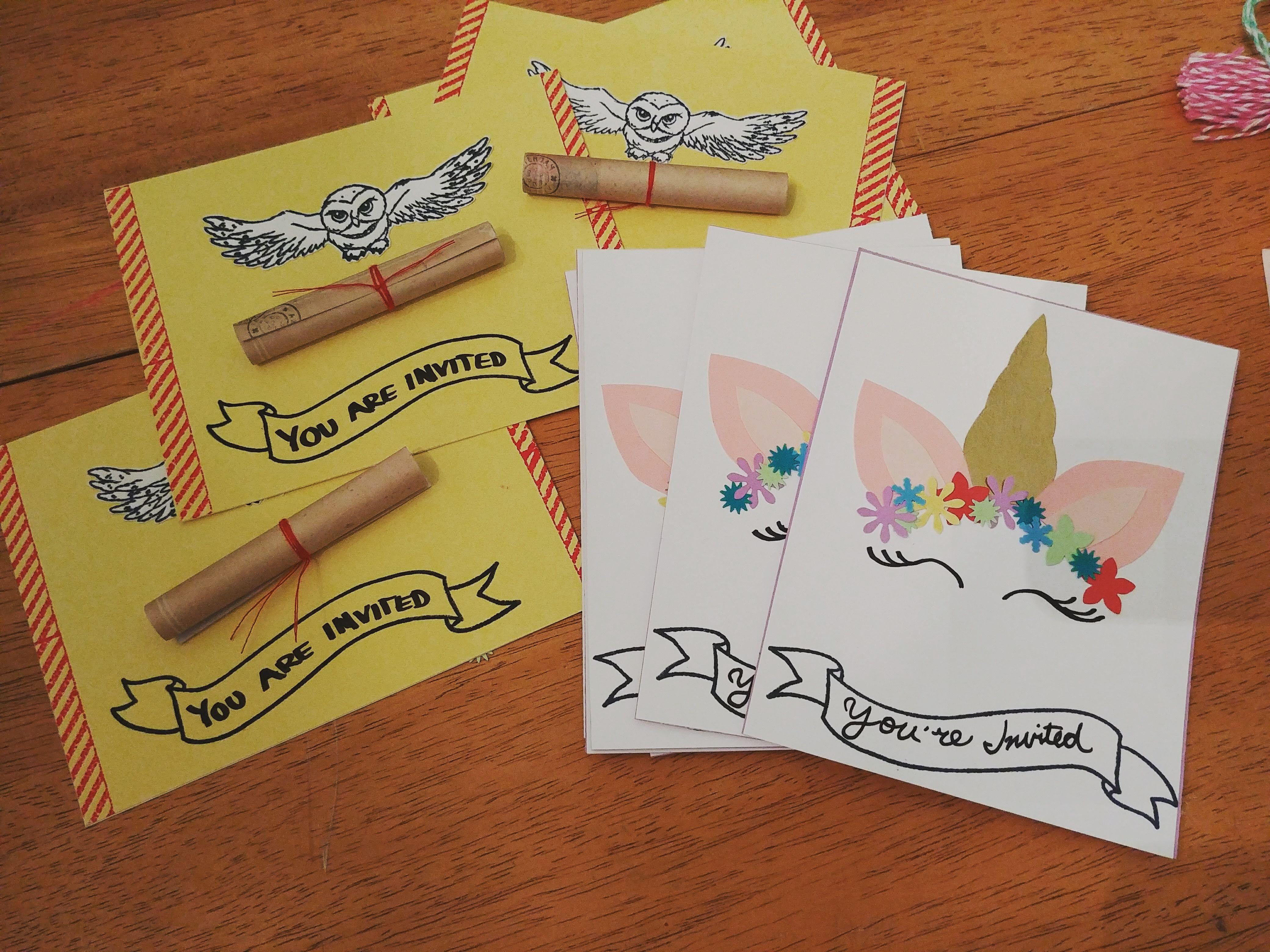 Birthday invitations harry potter and unicorn theme