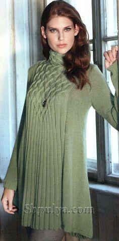 Вязание спицами женских платьев или туник