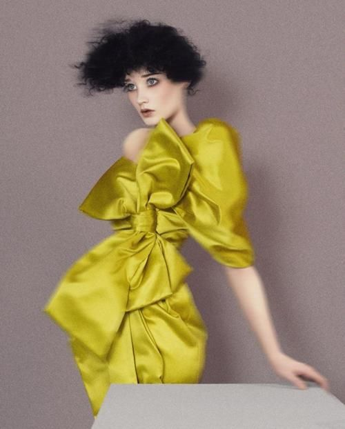high fashion chartreuse silk dress with bow